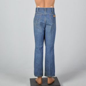 Large 1970s Wrangler Men Distressed Denim Jeans Straight Leg Pockets Vintage Pants - Fashionconstellate.com