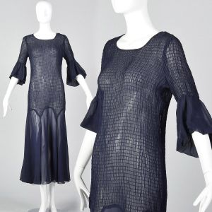 XS 1930s Sheer Navy Blue Dress Smocked Sheer Lightweight Day Wear Art Deco 3/4 Sleeve