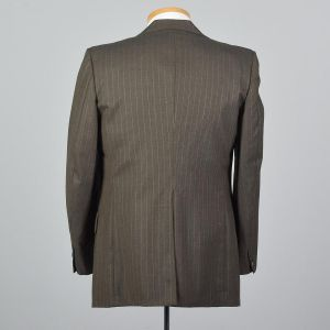 Large 41R 1970s Mens Gray Pinstripe Jacket Single Vent Convertible Pockets Blazer Sportcoat - Fashionconstellate.com