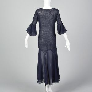 XS 1930s Sheer Navy Blue Dress Smocked Sheer Lightweight Day Wear Art Deco 3/4 Sleeve  - Fashionconstellate.com