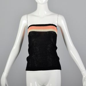 XS 1970s Black Tube Top Peach and White Striped Strapless Summer Knit Shirt