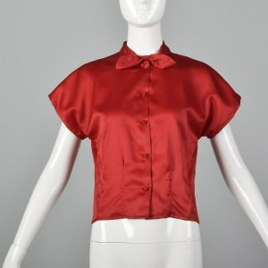 Small 1960s Silky Red Top Short Dolman Sleeve Blouse Pin Up Separates Casual Day Wear Short Sleeve