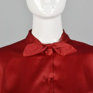 Small 1960s Silky Red Top Short Dolman Sleeve Blouse Pin Up Separates Casual Day Wear Short Sleeve  - Fashionconstellate.com