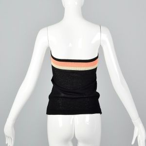 XS 1970s Black Tube Top Peach and White Striped Strapless Summer Knit Shirt - Fashionconstellate.com