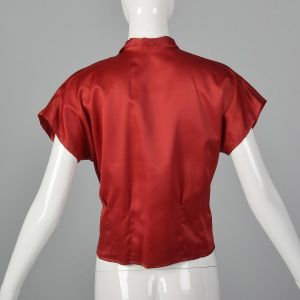 Small 1960s Silky Red Top Short Dolman Sleeve Blouse Pin Up Short Sleeves - Fashionconstellate.com