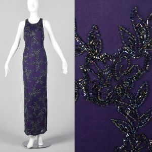 Small 1990s Dress Purple Black Beaded Sleeveless Maxi Long Halter Backless Formal Gown