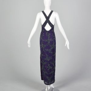 Small 1990s Dress Purple Black Beaded Sleeveless Maxi Long Halter Backless Formal Gown - Fashionconstellate.com