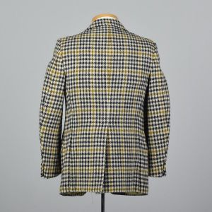 339S Medium 1970s Mens Blazer Wool Tweed Jacket Plaid Houndstooth Sportcoat  - Fashionconstellate.com