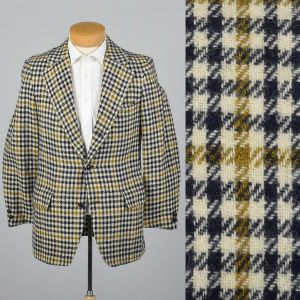 339S Medium 1970s Mens Blazer Wool Tweed Jacket Plaid Houndstooth Sportcoat