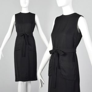 Small 1960s Classic Little Black Dress Belted Sleeveless Shift with Patch Pockets