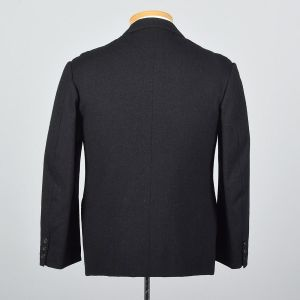 Medium 39S 1960s Mens Black Jacket Welt Pockets Button Front Blazer Slim Lapel Sportcoat - Fashionconstellate.com