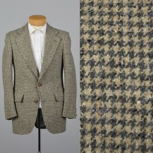 Medium 38R Mens 1970s Blazer Gray and White Tweed Houndstooth Two Button Jacket