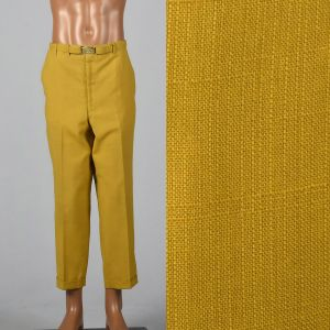 Large 1950s Mens Yellow Gold Golf Pants Lightweight Permanent Press Flat Front Tapered Leg Cuffed