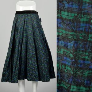 Large 1950s Full Circle Skirt Blue and Green Flocked Plaid Taffeta