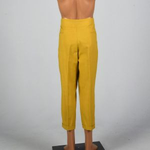 Large 1950s Mens Yellow Gold Golf Pants Permanent Press Flat Front Tapered Leg Cuffed - Fashionconstellate.com