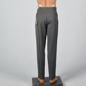 Medium 1950s Mens Deadstock Gray Brown Gabardine Pants Heathered Pockets Flat Front Tapered Leg Cuff - Fashionconstellate.com