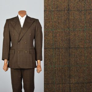Medium 40R 33x27 Mens 1970s Brown Suit Plaid Windowpane Textile Double Breasted Blazer
