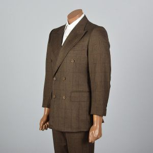 Medium 40R 33x27 Mens 1970s Brown Suit Plaid Windowpane Textile Double Breasted Blazer  - Fashionconstellate.com
