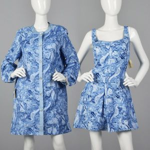 XXL 1960s Abercrombie & Fitch Deadstock Swimsuit Romper Dress Matching Cover-Up Jacket Playsuit