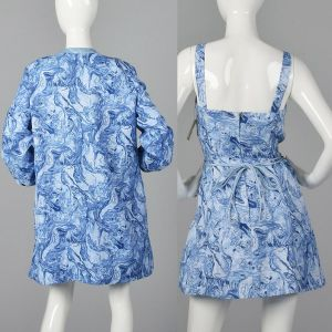 XXL 1960s Abercrombie & Fitch Deadstock Swimsuit Romper Dress Matching Cover-Up Jacket Playsuit - Fashionconstellate.com