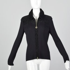 Medium 1990s St John Sport Zip Front Cardigan Black Ribbed Knit Corduroy Sweater