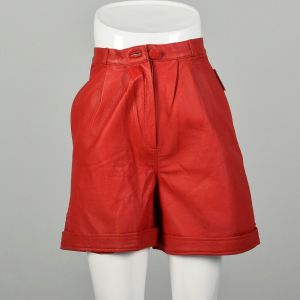 XS 1980s Red Leather Shorts Sexy Cuffed Bottoms Pleated Front