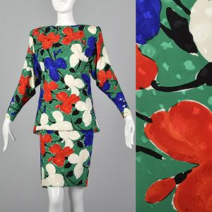 Small Galanos 1980s Abstract Floral Set Long Sleeve Green Abstract Floral Top Matching Skirt