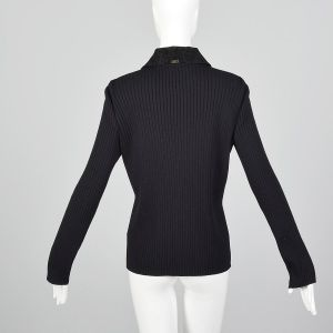 Medium 1990s St John Sport Zip Front Cardigan Black Ribbed Knit Corduroy Sweater   - Fashionconstellate.com