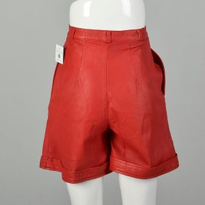 XS 1980s Red Leather Shorts Sexy Cuffed Bottoms Pleated Front - Fashionconstellate.com