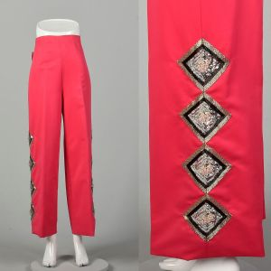 XL 1970s Hot Pink Pants Sequin High Rise Wide Leg Formal Bottoms - Fashionconstellate.com
