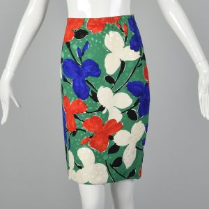 Small Galanos 1980s Abstract Floral Set Long Sleeve Green Abstract Floral Top Matching Skirt - Fashionconstellate.com