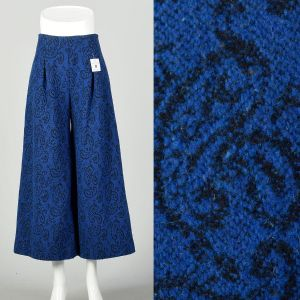 Small 1970s Blue Paisley Gaucho Pants Cropped Wide Leg
