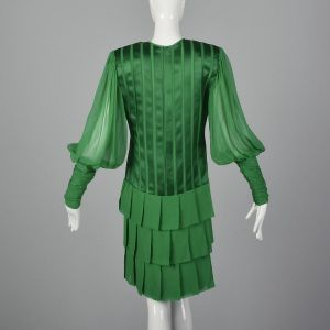 Small 1980s Galanos Emerald Green Dress Sheer Long Bishop Sleeves Short Pleated Ruffled Skirt - Fashionconstellate.com