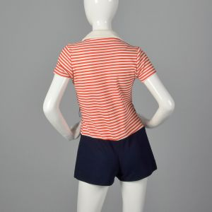 Medium 1970s Sailor Inspired Romper Womens Summer Red and White Stripes - Fashionconstellate.com