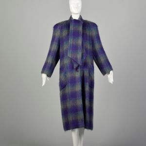 Large 1980s Coat Soft Colorful Plaid Striped Mohair Winter Maxi