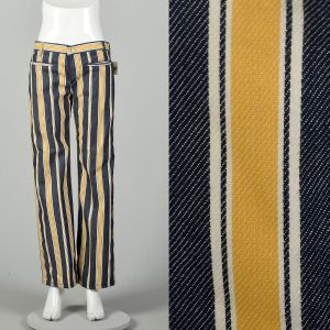 Medium 1970s Yellow Striped Jeans Low Rise Bell Bottom Hippie Pants