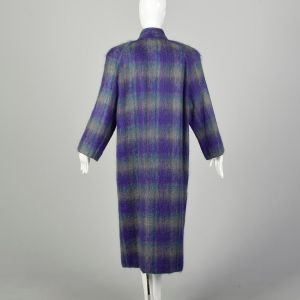 Large 1980s Coat Soft Colorful Plaid Striped Mohair Winter Maxi - Fashionconstellate.com