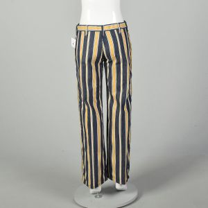 Medium 1970s Yellow Striped Jeans Low Rise Bell Bottom Hippie Pants  - Fashionconstellate.com