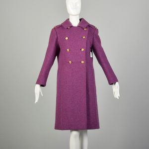 Small 1960s Coat Purple Double Breasted Wool Military Mod Winter Outerwear
