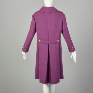 Small 1960s Coat Purple Double Breasted Wool Military Mod Winter Outerwear - Fashionconstellate.com