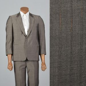XS 36S 32x26.5 1960s Mens Suit Gray Multicolored Pinstripe Two Piece Jacket Blazer Flat Front Pants