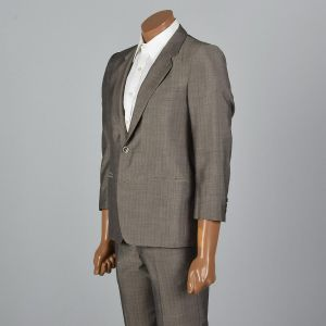 XS 36S 32x26.5 1960s Mens Suit Gray Multicolored Pinstripe Two Piece Jacket Blazer Flat Front Pants - Fashionconstellate.com