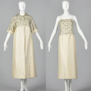 XS 1960s Wedding Dress Two Piece Set Ivory White Beaded Opera Coat Strapless Long Maxi Gown