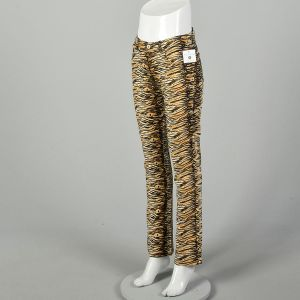 Small Guess Jeans Tiger Stripe Pants Mid Rise Cotton Bottoms - Fashionconstellate.com