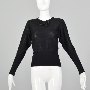 XXS 1980s Sonia Rykiel Sweater Black Silver Metallic Lurex Stripe Long Sleeve Bow Neck Top