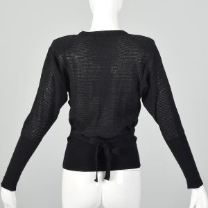 XXS 1980s Sonia Rykiel Sweater Black Silver Metallic Lurex Stripe Long Sleeve Bow Neck Top - Fashionconstellate.com