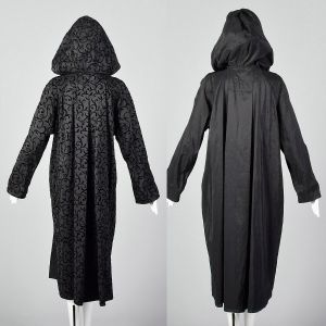 Small 1990s Black Hooded Coat Reversible Lightweight Nylon Travel Packing Jacket  - Fashionconstellate.com
