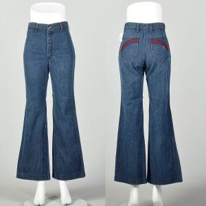 Small 1970s High Waisted Jeans Hippie Bell Bottoms Embroidered Pockets