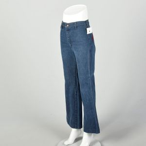 Small 1970s High Waisted Jeans Hippie Bell Bottoms Embroidered Pockets - Fashionconstellate.com