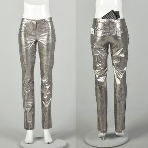 Small Costume National Silver Pants Metallic Low Rise Designer Bottoms